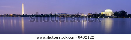 Panoramic of the Washington Memorial with the Capitol Building and Jefferson Memorial - stock photo