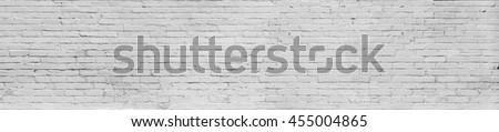 Panoramic  Old  white grey painted bricks wall  - stock photo