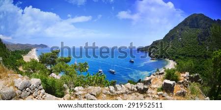 Panoramic Olympos Beach. Cirali, Turkey - stock photo