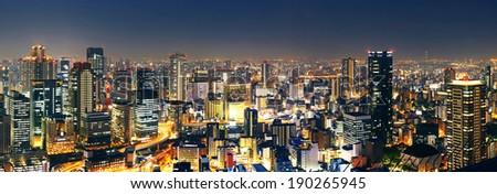 Panoramic Osaka at night, Japan  - stock photo