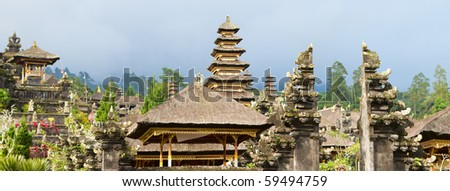 Panoramic photo of Besakih complex most important temple in Bali - stock photo