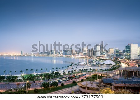 Panoramic photo of downtown Luanda, the capital of Angola. - stock photo