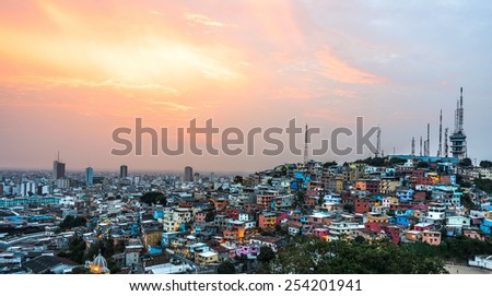 Panoramic photo of Guayaquil city at sunset, Ecuador, South America - stock photo