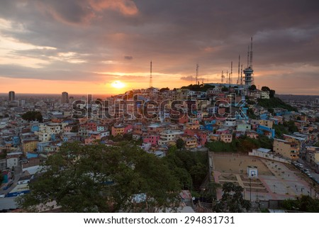 Panoramic photo of Las Pe�±as - the oldest area of Guayaquil city at sunset, South Ecuador 2015. - stock photo