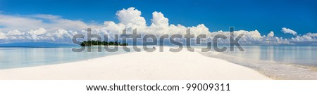 Panoramic photo of small uninhabited island in Malaysia - stock photo