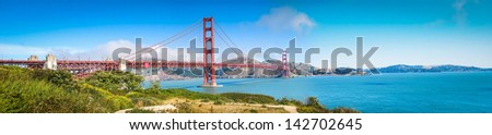 Panoramic Photo of the Golden Gate Bridge in San Francisco Bay taken in 2007. 30 MegaPixel. - stock photo
