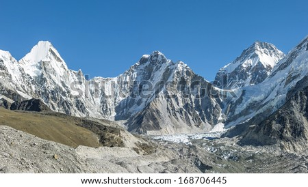 Panoramic photo of the legendary glacier circus Khumbu, from where the assault Mount Everest - Nepal, Himalayas - stock photo