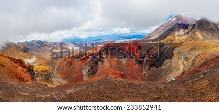 Panoramic photo of the Red Crater on the top of Tongariro Volcano with a Mount Ngauruhoe in the back, Tongariro Crossing National Park - New Zealand - stock photo