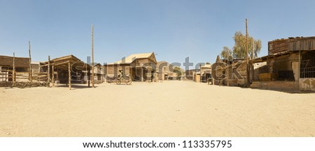 Panoramic photo of the western movie town Fort Bravo. Texas Hollywood. Desierto de Tabernas, Almeri�­a. Andalusia. Spain.
