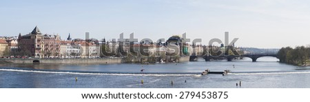 Panoramic photo: Prague Vltava River