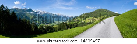 Panoramic photograph alpine mountain nature - stock photo
