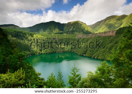 Panoramic photograph overlooking Santiago lagoon, in Sao Miguel Island. The Azores are one of the main tourist destinations in Portugal - stock photo