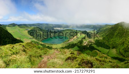 Panoramic photograph overlooking three ponds surprising, Santiago, Rasa and Seven Cities.The Azores are one of the main tourist destinations in Portugal - stock photo