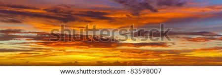 Panoramic photos of sky at sunset - Thailand - stock photo