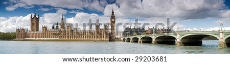 Panoramic picture  of Big Ben and the Houses of Parliament.
