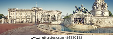 Panoramic picture of Buckingham Palace and Victoria Memorial, London. ( outside Buckingham Palace) - stock photo