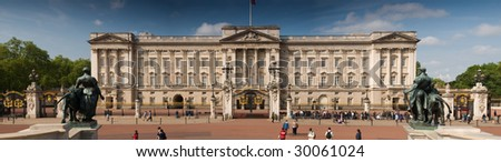 Panoramic picture of Buckingham Palace, London. - stock photo
