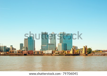 Panoramic picture of Canary Wharf view from Greenwich. - stock photo