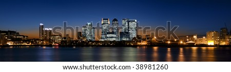 Panoramic picture of Canary Wharf view from Greenwich.This view includes: Credit Suisse, Morgan Stanley, HSBC Group Head Office, Canary Wharf Tower, Citigroup Centre, One Churchill Place(Barclays). - stock photo
