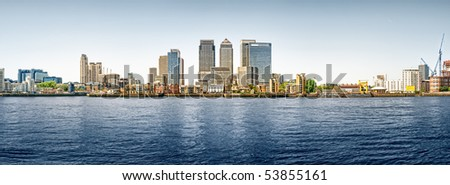 Panoramic picture of Canary Wharf view from Greenwich. This view includes: Credit Suisse, Morgan Stanley, HSBC Group Head Office, Canary Wharf Tower, Citigroup Centre, One Churchill Place(Barclays).