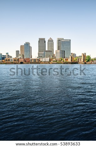 Panoramic picture of Canary Wharf view from Greenwich. This view includes: Credit Suisse, Morgan Stanley, HSBC Group Head Office, Canary Wharf Tower, Citigroup Centre, One Churchill Place(Barclays). - stock photo