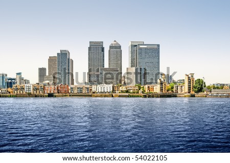 Panoramic picture of Canary Wharf view from Greenwich. This view includes: Credit Suisse, Morgan Stanley, HSBC Group Head Office, Canary Wharf Tower, Citigroup Centre, and One Churchill Place.