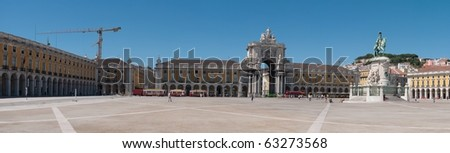 panoramic picture of Commerce Square also known as Terreiro do Paco in Lisbon, Portugal - stock photo