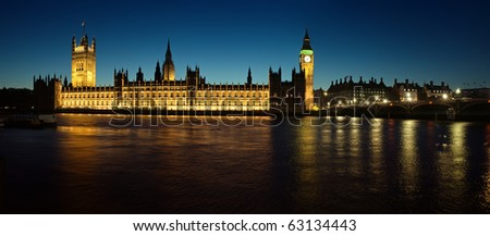 Panoramic picture of Houses of Parliament. - stock photo