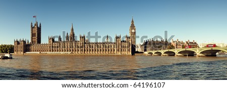 Panoramic picture of  Houses of Parliament, London. - stock photo