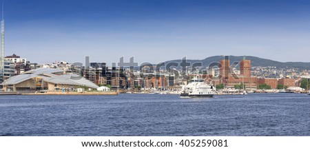 Panoramic picture of Oslo fjord with view on City Hall, Aker Brygge and Astrup Fearnley Museum of Modern Art - stock photo