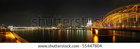 Panoramic picture of the german city Cologne and river Rhine - stock photo