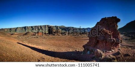 Panoramic scenic view of volcanic landscape, Plaine des Sables on Reunion Island. - stock photo
