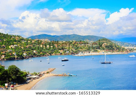 Panoramic sea bay view, yachts and boats. French Riviera, Azure Coast or Cote d Azur, Provence, France  - stock photo