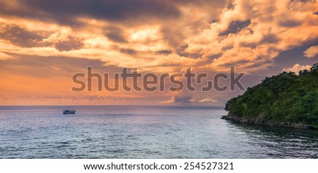 Panoramic sea view at afternoon in Trinidad and Tobago island - stock photo