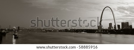 Panoramic sepia panoramic of St. Louis Arch and bridge in background - stock photo