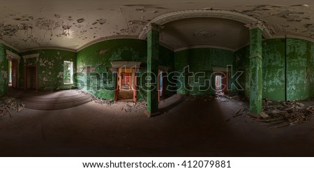 Panoramic shoit of abandoned hall interior. Full spherical (360 by 180 degree) panorama in equirectangular projection. - stock photo
