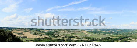Panoramic shot of a scenic french landscape. - stock photo