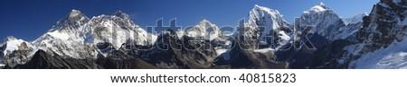 Panoramic shot of Everest from the Renjo pass Nepal - stock photo