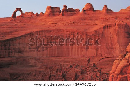 panoramic shot of red rock vista with delicate arch and eroded stone prehistoric geography, canyonlands national park, moab, utah - stock photo
