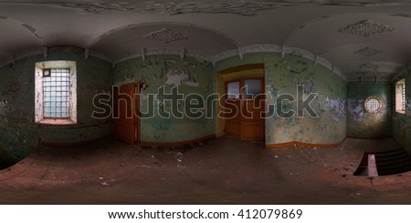 Panoramic shot of staircase in abandoned house. Full spherical (360 by 180 degree) panorama in equirectangular projection. - stock photo