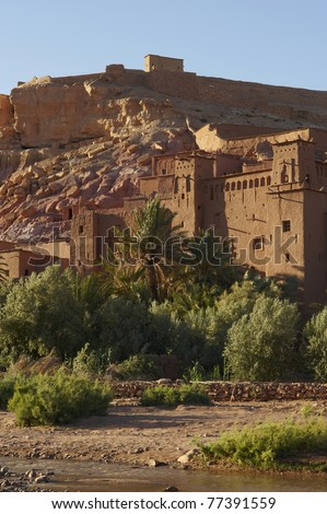Panoramic shot of the fortified town  on the edge of the sahara desert in Morocco.