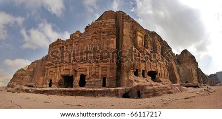 Panoramic shot of the Royal Tombs in Petra, Jordan. - stock photo