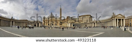 Panoramic shot of the St Peter's Square built by Gian Lorenzo Bernini in Vatican City, Rome, Italy - stock photo