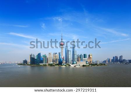 panoramic skyline of shanghai and landmarks - stock photo