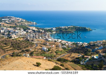 Panoramic skyline view of Agia Pelagia village Heraklion Crete G