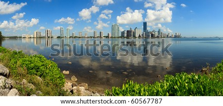 Panoramic Skyline view of Miami and Biscayne Bay from Key Biscayne. - stock photo
