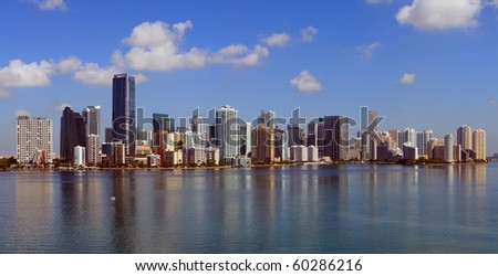 Panoramic Skyline view of Miami and Biscayne Bay from the Key Biscayne Bridge - stock photo