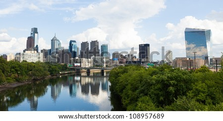 Panoramic skyline view of Philadelphia, Pennsylvania  - USA - stock photo