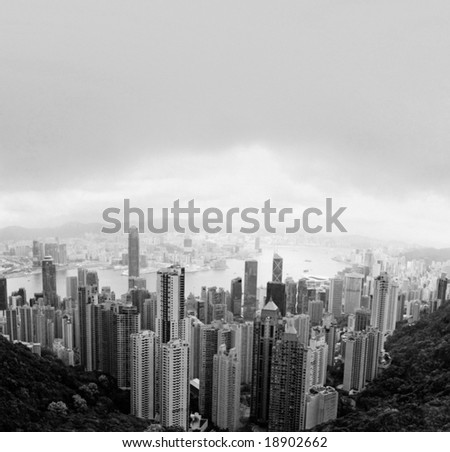 Panoramic Stitch Black and White Infrared: Central Hong Kong China In A Rainy Day - stock photo
