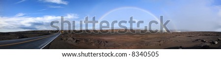 Panoramic Stitch: Double Rainbow At Hilo Volcano State Park Hawaii - stock photo